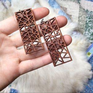 Geometric Wood Cut Out Boho Earrings
